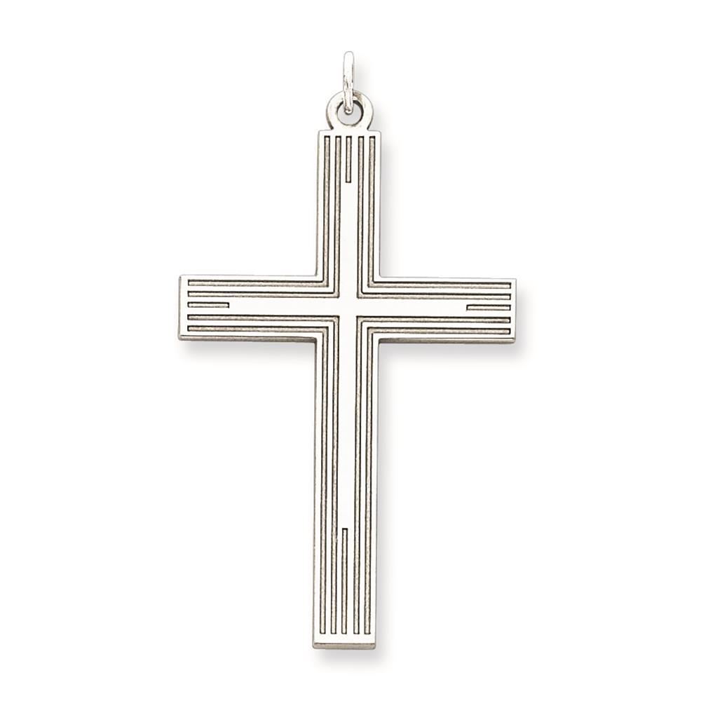 925 Sterling Silver Polished & Solid Laser Etched Cross Charm Pendant