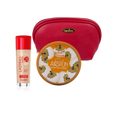 Two Piece Rimmel Kit with Rimmel Long Lasting Coverage Foundation (Classic Ivory, 1 Oz), Coty Airspun Loose Powder (Suntan, 2.30 Oz) with Deep Red Draizee Leather Cosmetic Bag