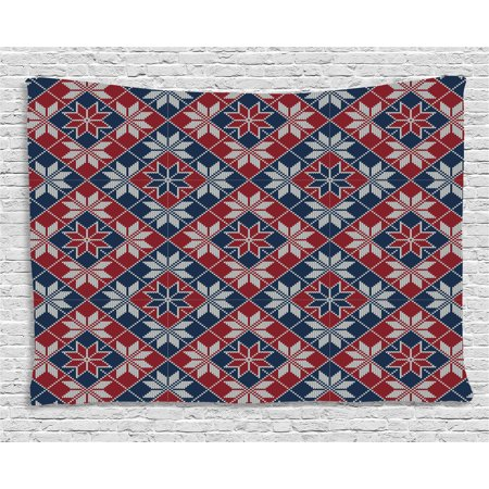 Nordic Tapestry, Wool Knit Pattern with Tartan Geometric Stripes Flower Figures Print, Wall Hanging for Bedroom Living Room Dorm Decor, 60W X 40L Inches, Ruby Dark Blue Coconut, by Ambesonne