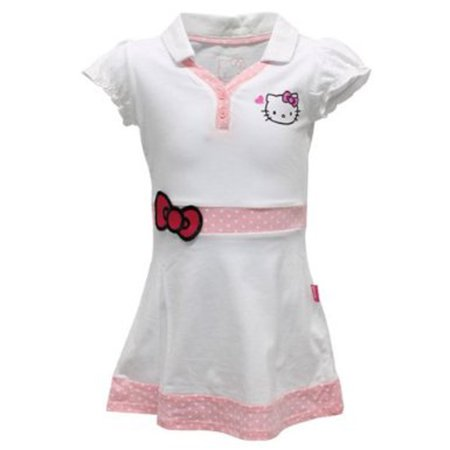 3t Princess Dress (Hello Kitty Girls` Princess Sleeve V Neck Tennis Dress White -)