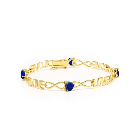 3.20 Ct Blue Simulated Sapphire 18K Yellow Gold Plated Silver Bracelet