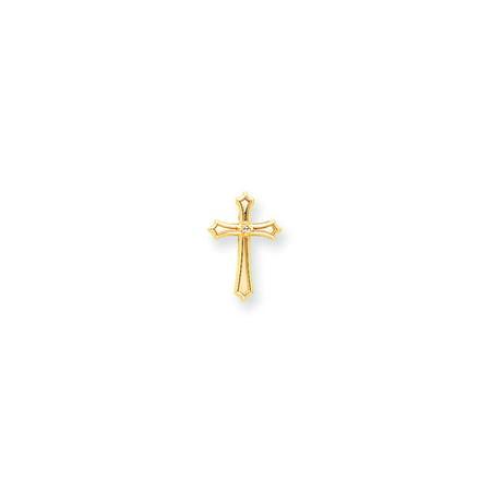 Solid 14k Yellow Gold AA Diamond Cross Pendant (12mm x 20mm)