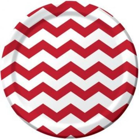Red and White Chevron Stripe 9 inch Lunch/Dinner Plates (8 ct)](Red Chevron)