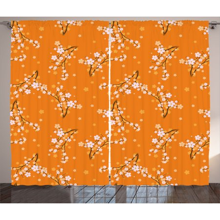 Floral Curtains 2 Panels Set, Blooming Cherry Tree Flowers on Branches Spring Season Nature Theme Pattern, Window Drapes for Living Room Bedroom, 108W X 84L Inches, Orange White Brown, by Ambesonne