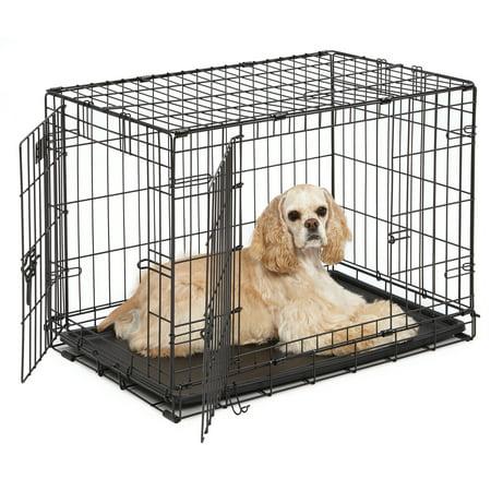 Double Door iCrate Metal Dog Crate, 30-Inch, Black