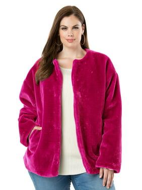 Roaman's Plus Size Faux-fur Jacket