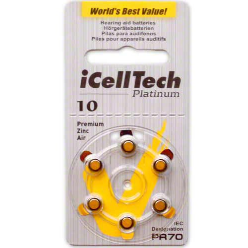 iCell Tech Size 10 Hearing Aid Batteries **Platinum**, 60 Batteries