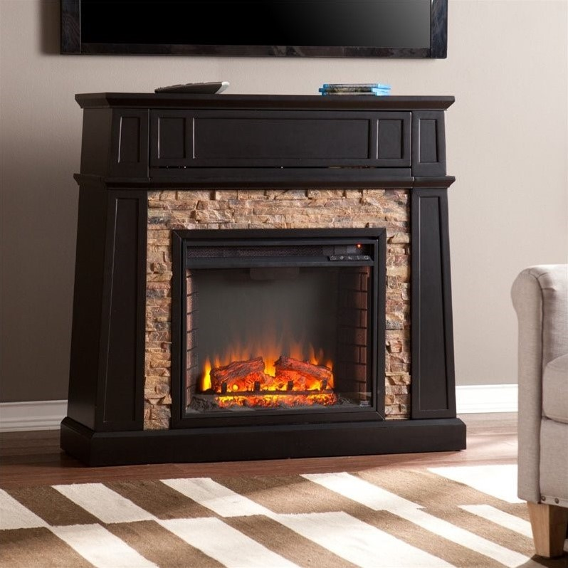 Southern Enterprises Crestwick Electric Media Fireplace in Black