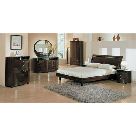 5 Pc Emily Bedroom Set in Gloss Wenge Finish (Queen)