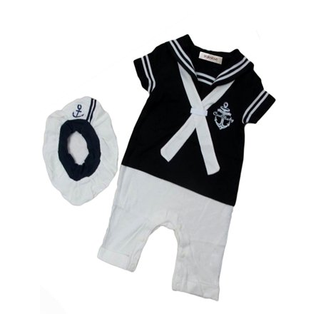 StylesILove Baby Boy Sailor Costume Romper and Hat 2-piece (6-12 Months, Navy Blue)