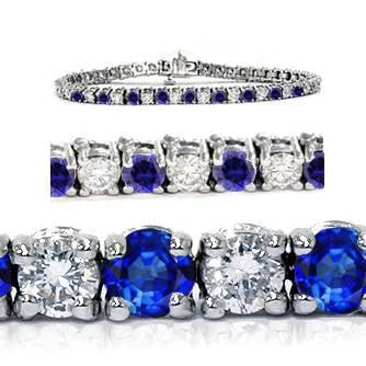 1 4.00Ct Blue Sapphire & White Diamond Tennis Bracelet 14K White Gold - image 1 de 1