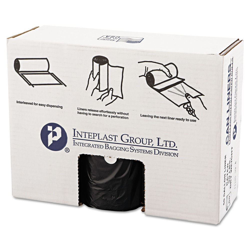 Inteplast Group High-Density Can Liners, 60 Gallon, Black, 25 count, (Pack of 6)