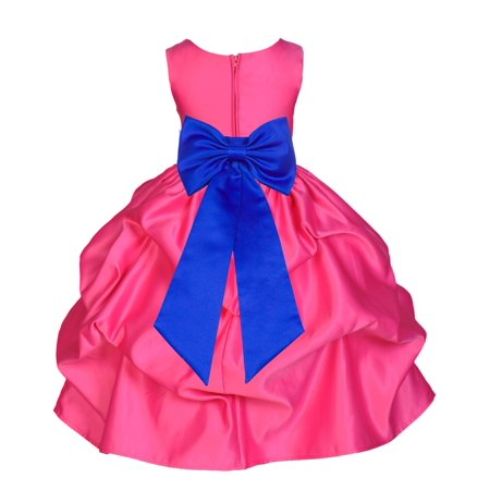 Ekidsbridal Formal Satin Fuchsia Pink Bubble Pick-up Flower Girl Dress Christmas Bridesmaid Wedding Pageant Toddler Recital Easter Holiday Communion Birthday Baptism Special Occasions Graudation 208T for $<!---->