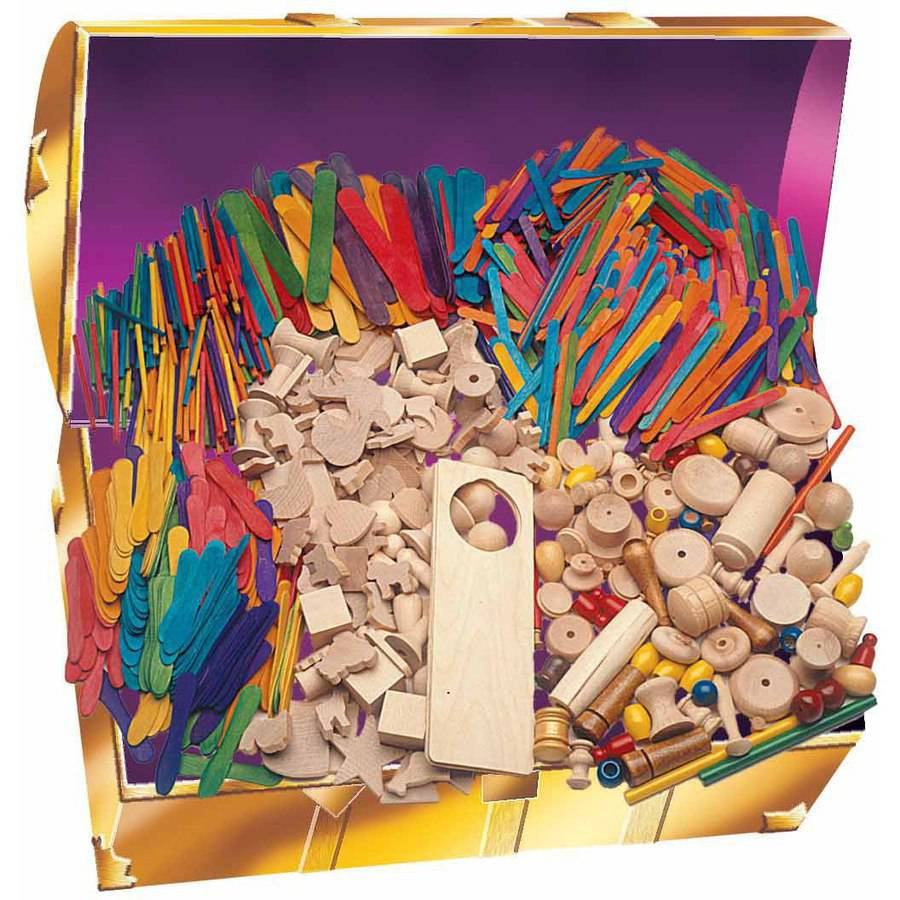 Hygloss Wood Assorted Shape Treasure Box and Wood Pieces, Assorted Sizes