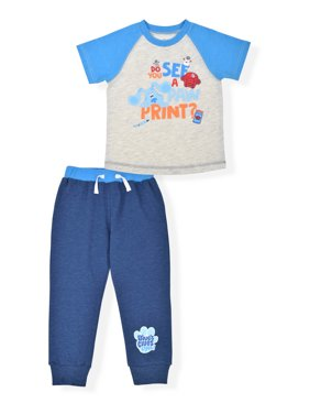 Blue's Clues Toddler Boys Raglan T-shirts & Jogger Pants Outfit Sets, 2-Piece Set