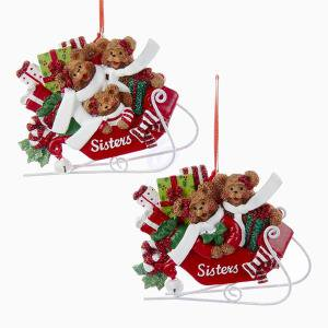 Resin Christmas Ornaments.1 Set 2 Assorted Sister Bears On Sled Resin Christmas Ornaments For Personalized
