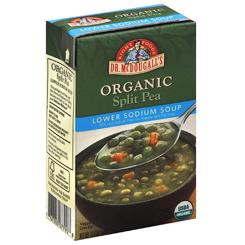 Dr. McDougall's Right Foods Organic Lower Sodium Split Pea Soup, 17.6 oz, (Pack of 6)
