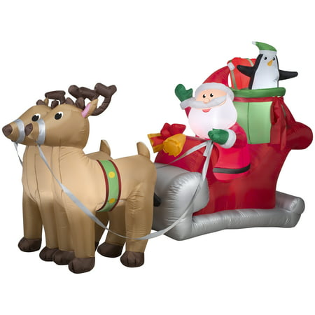 Airblown Inflatables Santa with Sleigh and Reindeer Scene Santas New Sleigh