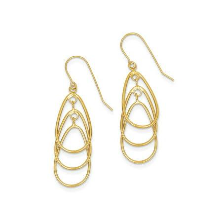 14K Yellow Gold Polished Teardrop Dangle Earrings 42X12 Mm