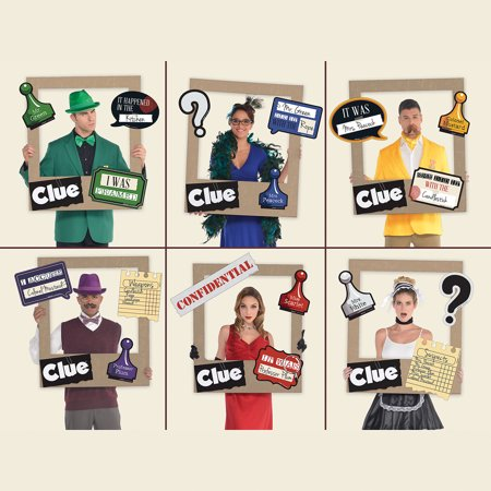 Giant Clue Photo Frame Supplies, 19 Pieces, 18 Cutouts for a Selfie Station