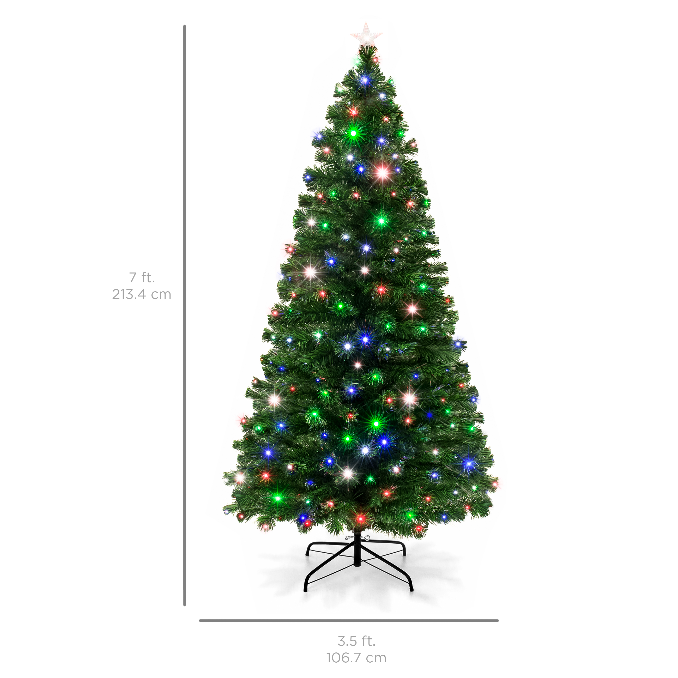 Best Choice Products 7FT Pre-Lit Fiber Optic Artificial Christmas ...