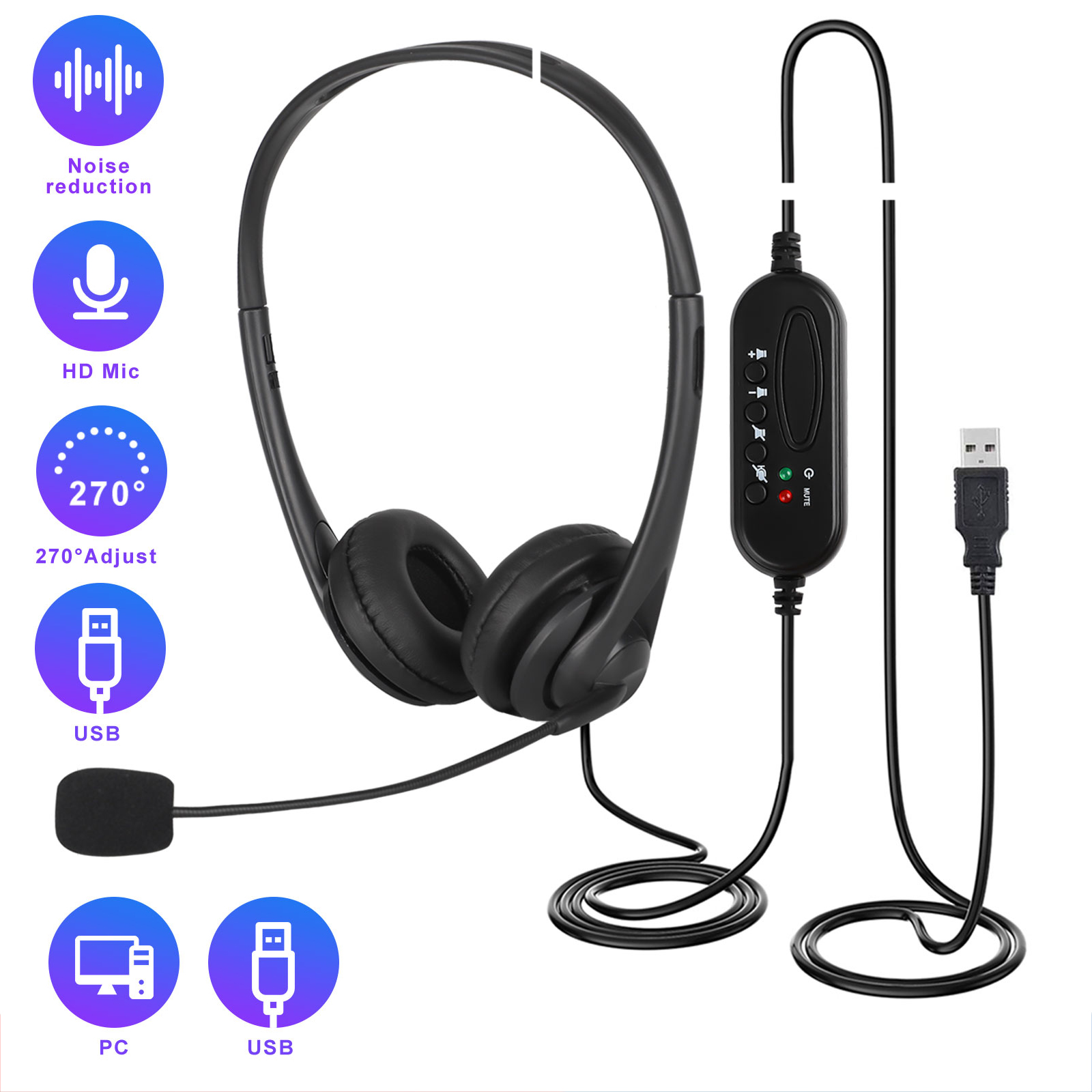 USB Headset with Microphone Noise Cancelling /& Audio Controls USB Wired PC Headphone Super Light /& Comfort for Business Conference Calls Soft phone Conversation Online Teaching Skype etc