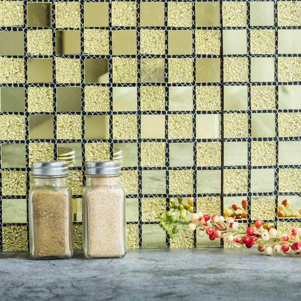 "Efavormart 10 Pack Self-adhesive Gold Backsplash Peel & Stick Colored Glass Mirror Mosiac Wall Tile - 12""x12"""