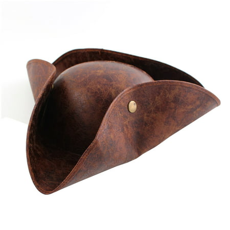 Brown Leather Halloween Fancy Party Pirate Tricorn Look Hat Cap Dress - Dress Code For Halloween Party