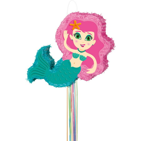 Mermaid Pinata, Pull String, Pink & Teal, 22.25in x 9.5in - Winter Wonderland Pinata