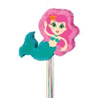 Mermaid Pinata, Pull String, Pink & Teal, 22.25in x 9.5in