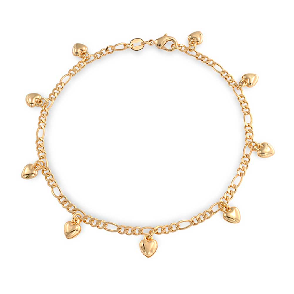 18k Gold Plated Brass Figaro Chain Heart Charm Bracelet Anklet 9.5 Inch