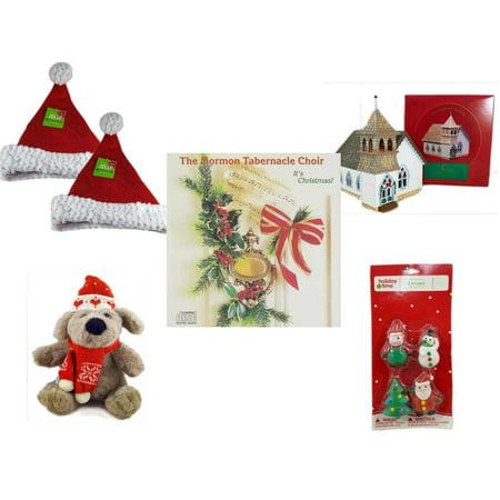 Plain Party Hats (Christmas Fun Gift Bundle [5 Piece] - Be Jolly Santa Sparkle Hat 17