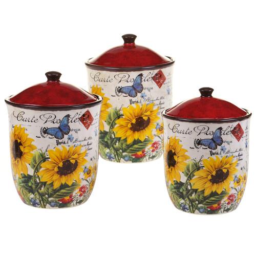 Certified Intl Sunflower Meadow 3-Piece Kitchen Canister Set