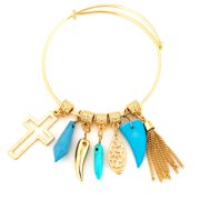 TAZZA WOMEN'S GOLD CROSS TURQUOISE CHARMS  BRACELETS