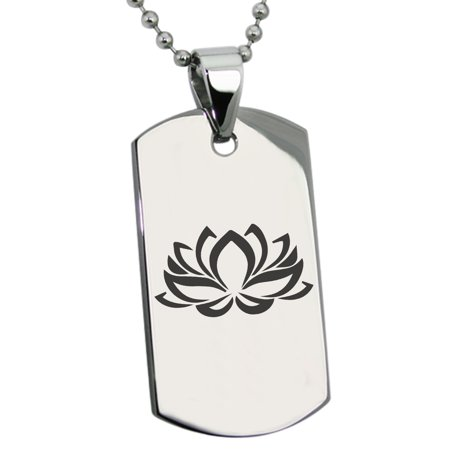 Stainless Steel Heart of the Lotus Engraved Dog Tag Pendant Necklace