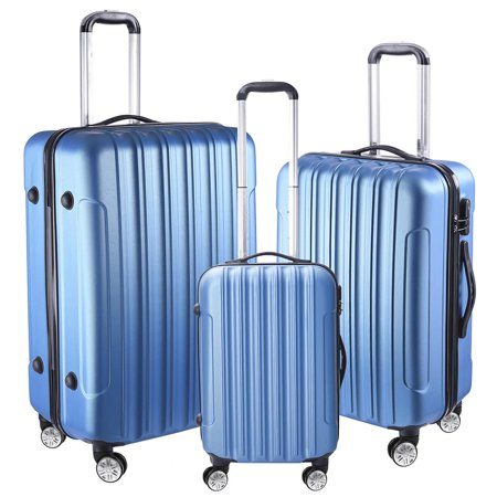 3-Piece Soft-sided Rolling Luggage Set 17x14x22 Cosmetic Train Bag Travel Show Party ()
