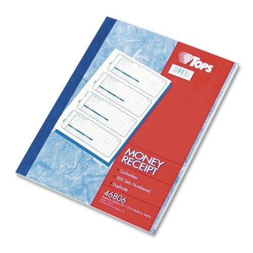 """Tops Manifold Receipt Book - 2 Part - Carbonless - 7.25"""" X 2.75"""" Sheet Size - Assorted - 1each (TOP46806)"""