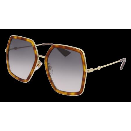 GG0106S-003 Light Havana/Gold 56mm Gucci GG0106S Urban Hexagon Butterfly Woman Sunglasses