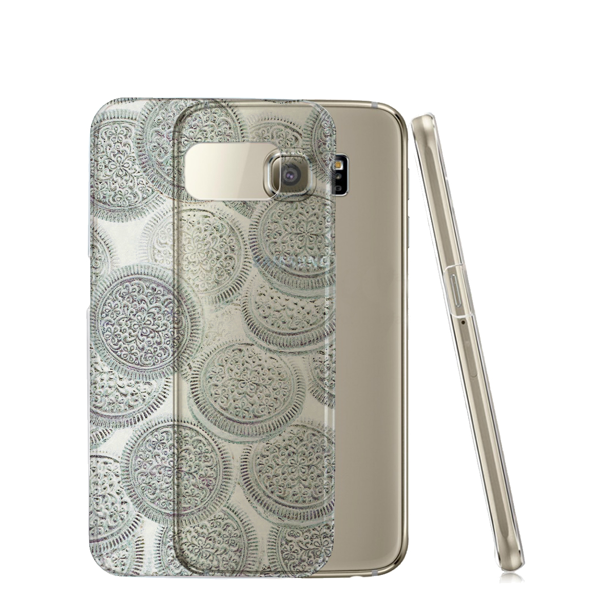 KuzmarK™ Samsung Galaxy S6 Edge Clear Cover Case - White Chocolate Cookies