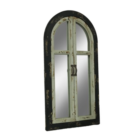 Vintage Finish Wood Arched Window Frame Wall Mirror with (8 Deep Arch Door)