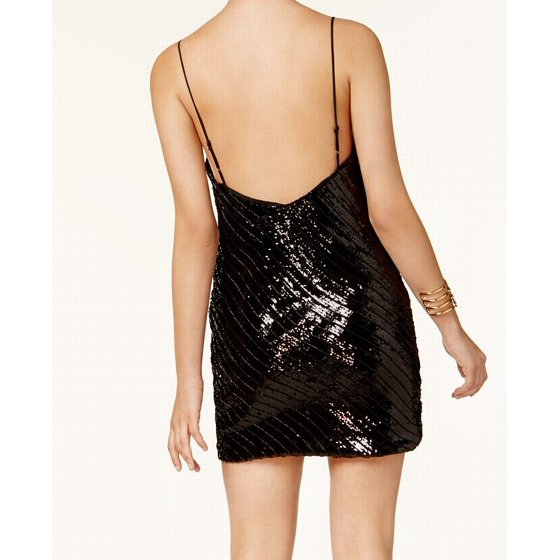 Cowl Neck Sheath Dresses: Deep Womens Cowl Neck Sequined Sheath