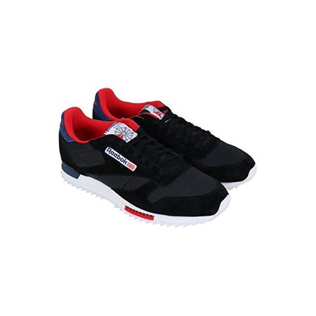 Reebok Classic Leather Ripple Clip Mens Black SuedeMesh Sneakers Shoes