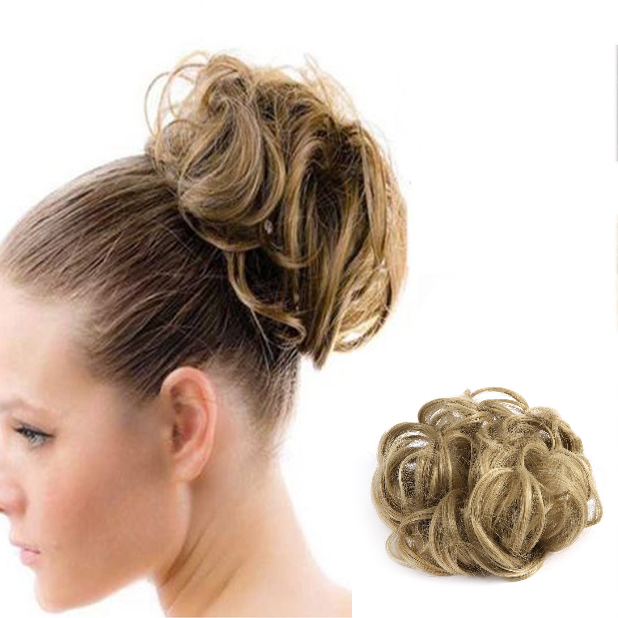 Elegant Woman Donut Ponytail Synthetic Hair Clip In Big Hair Messy Dish Bun Chignon