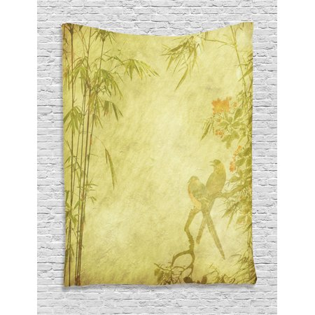 Bamboo House Decor Wall Hanging Tapestry, Silhouettes Of Birds On The Branch And Bamboo Stems Twig Retro Inspired Wild Life Theme, Bedroom Living Room Dorm Accessories, By Ambesonne