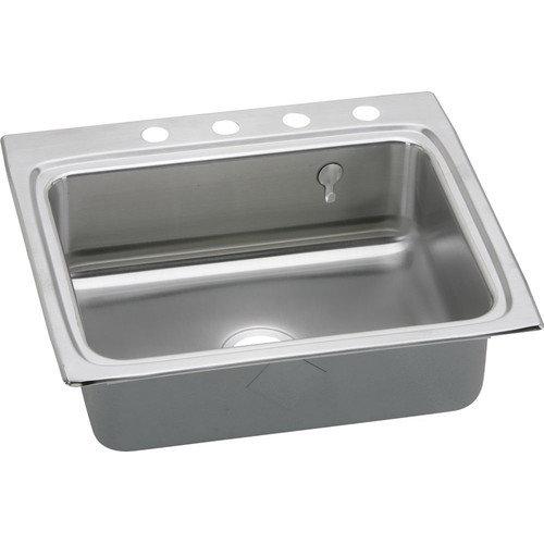 Elkay LR2522EK5 Gourmet Lustertone Stainless Steel Single Bowl Top Mount Sink Kit with 5 Faucet Holes