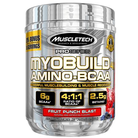 MuscleTech Pro Series Myobuild 4x Amino-BCAA Powder, Fruit Punch Blast, 36 (Amino Blend Powder)