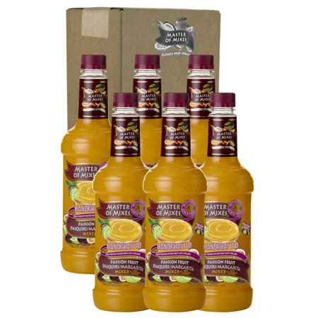 Master of Mixes Passion Fruit Drink Mix, Ready To Use, 1 Liter Bottle (33.8 Fl Oz), Pack of