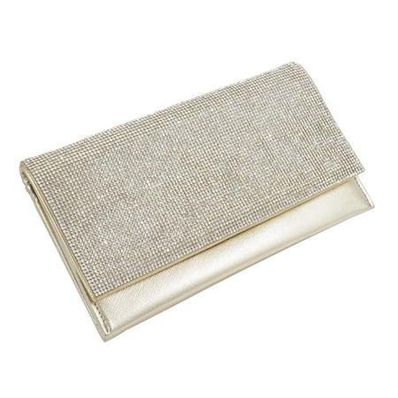 - Premium Rhinestone Clutch Evening Bag Handbag, Gold