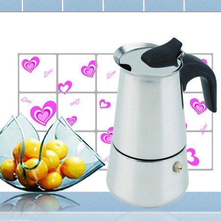 2/4/6-Cup Percolator Stove Top Coffee Maker Moka Espresso Latte Stainless Pot,Silver