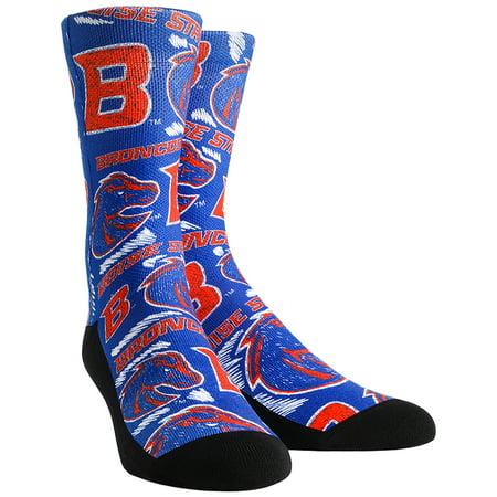 Boise State Broncos Logo Sketch Crew Socks - Royal - L/XL